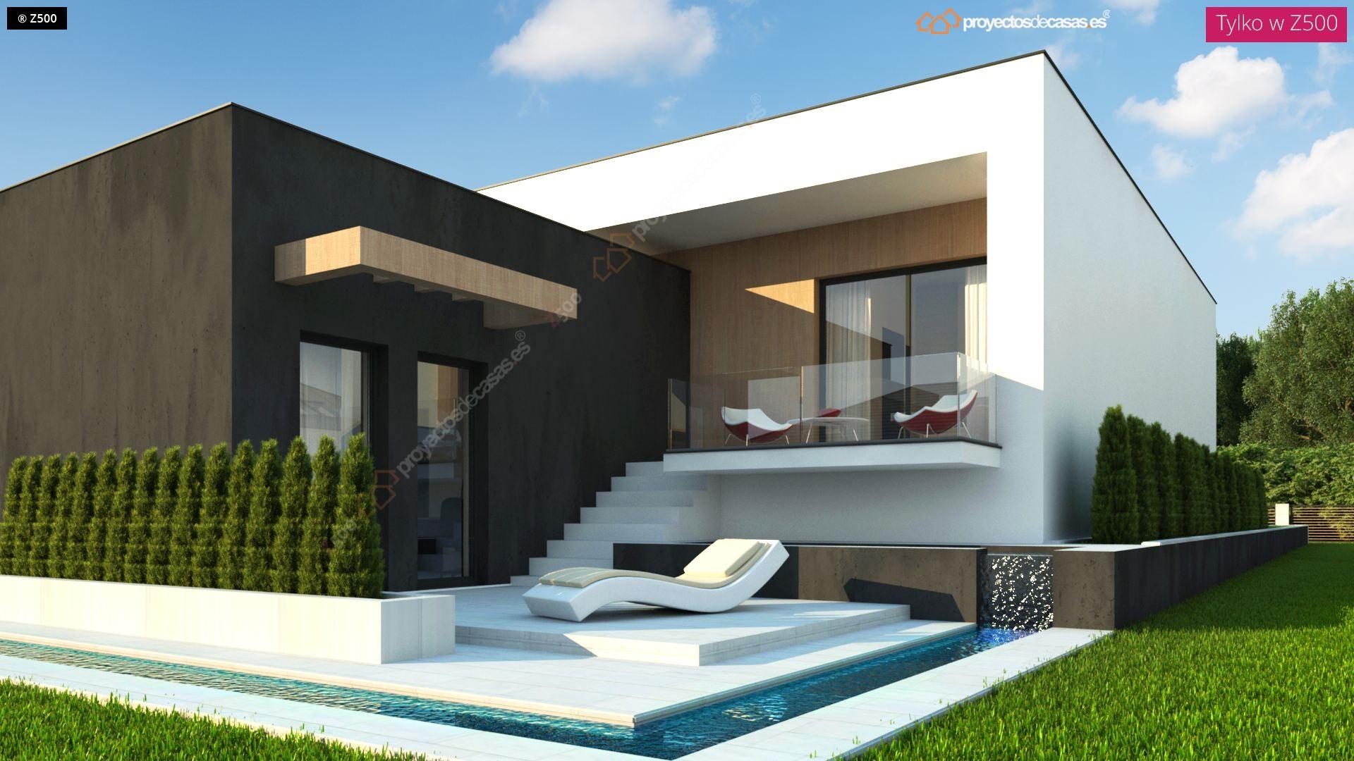 Proyectos de casas casa moderna de 1 planta con piscina for Casas pequenas de una planta modernas