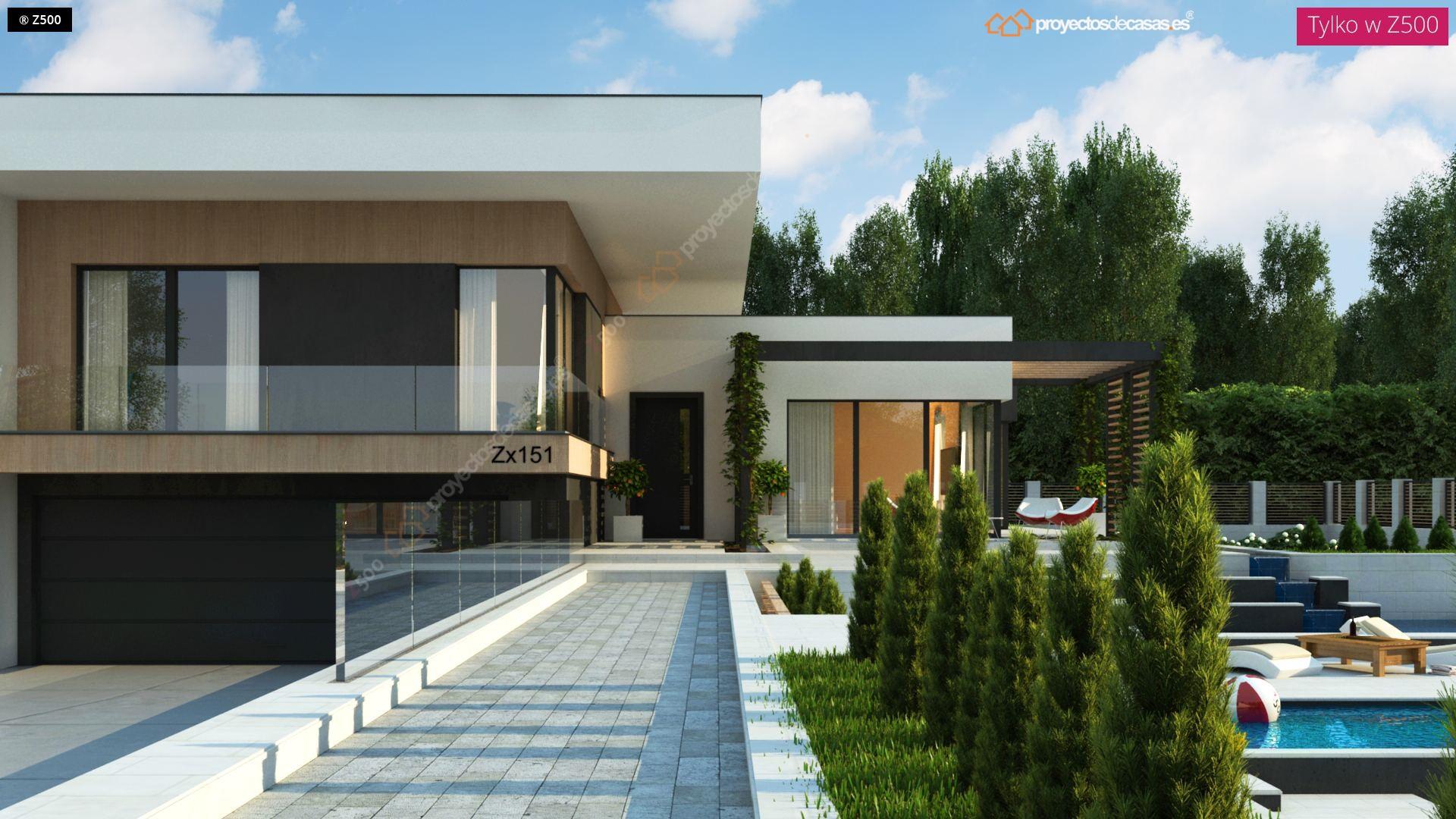 Proyectos de casas casa moderna de 1 planta con piscina for Plano de casa quinta moderna