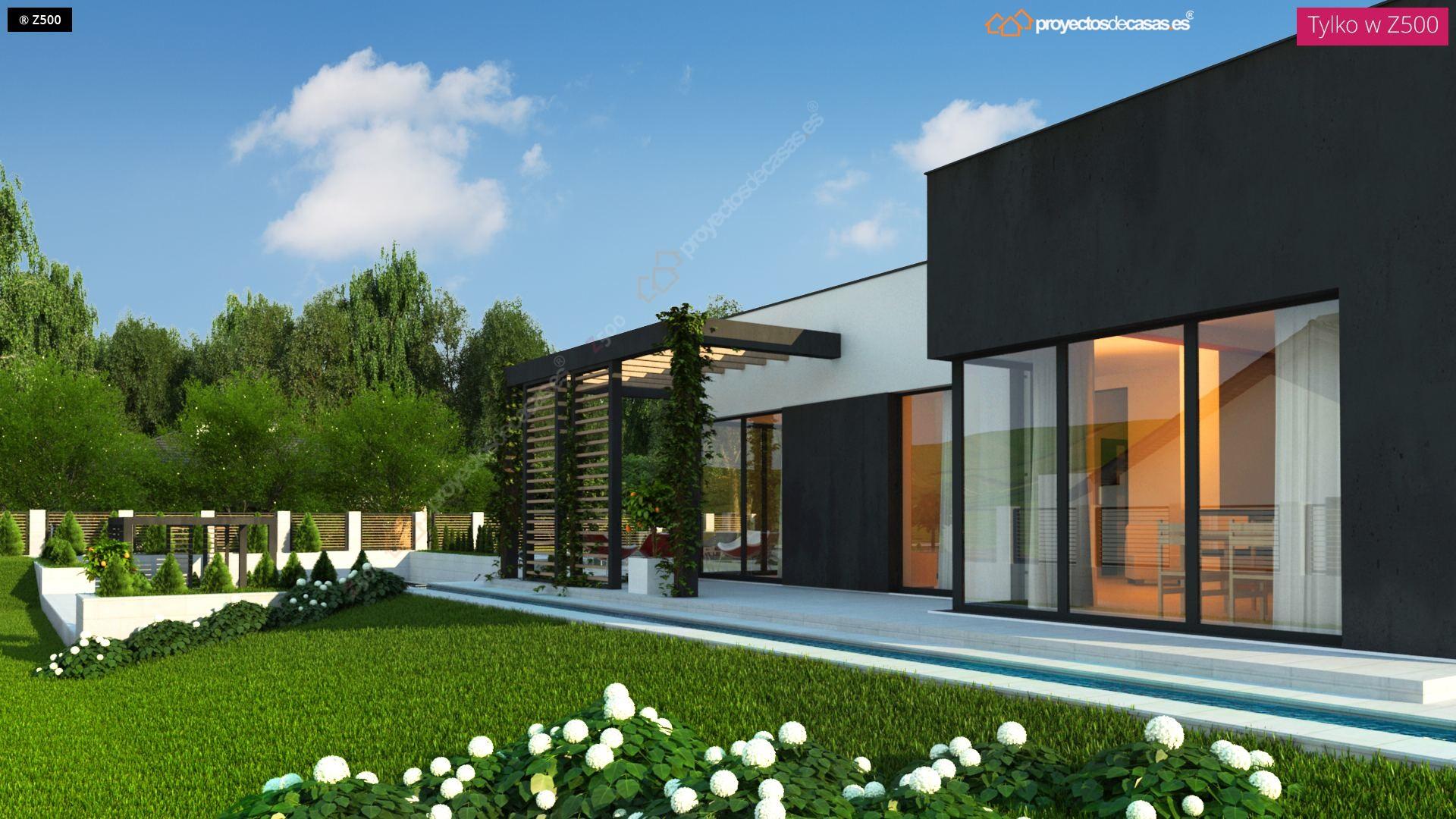 Proyectos de casas casa moderna de 1 planta con piscina for Plantas modernas para jardin