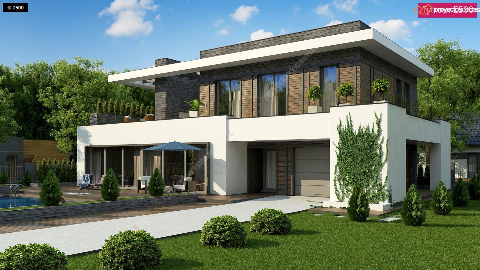 Proyectos de casas casa moderna con piscina zaragoza for Proyectos casas modernas