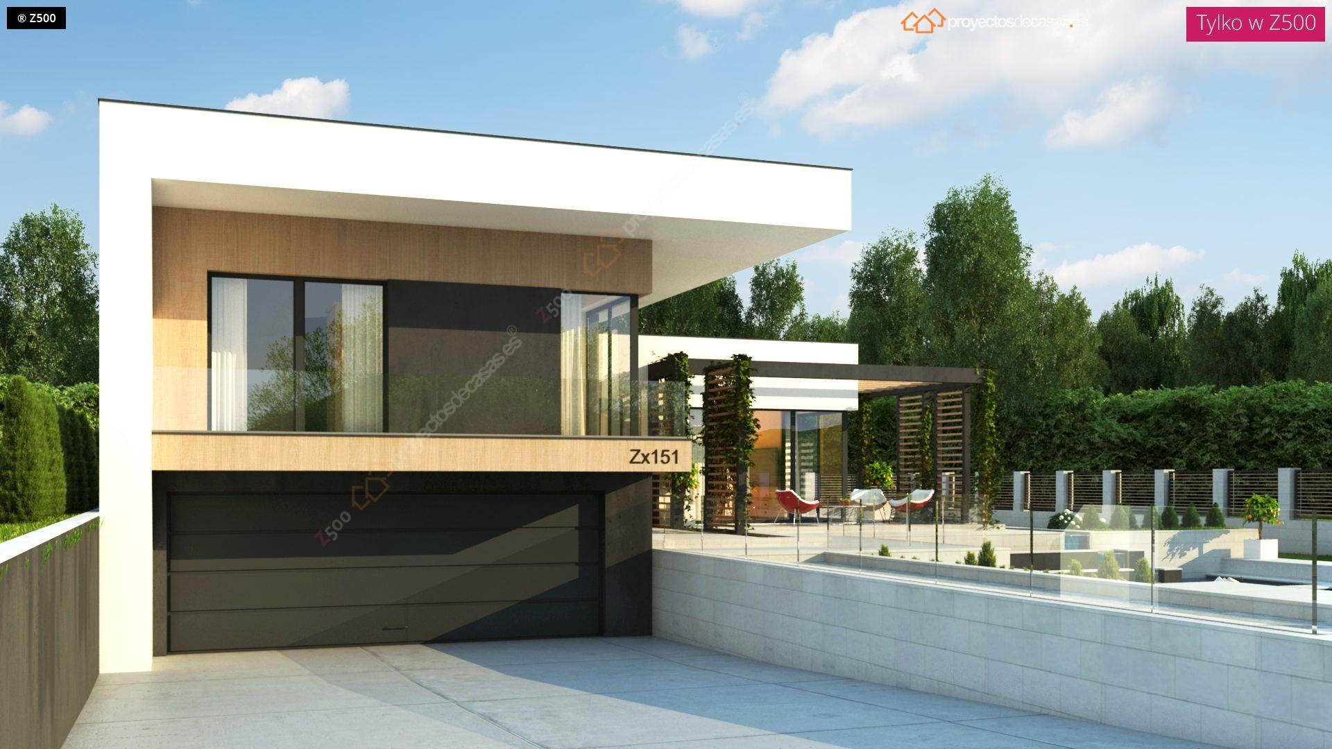 Proyectos de casas casa moderna de 1 planta con piscina for Jardines interiores de casas modernas