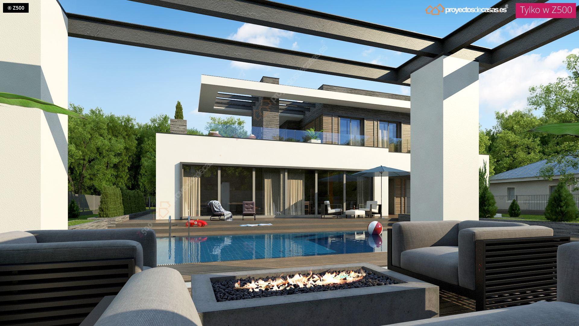 Proyectos de casas casa moderna con piscina zaragoza for Casas modernas con alberca
