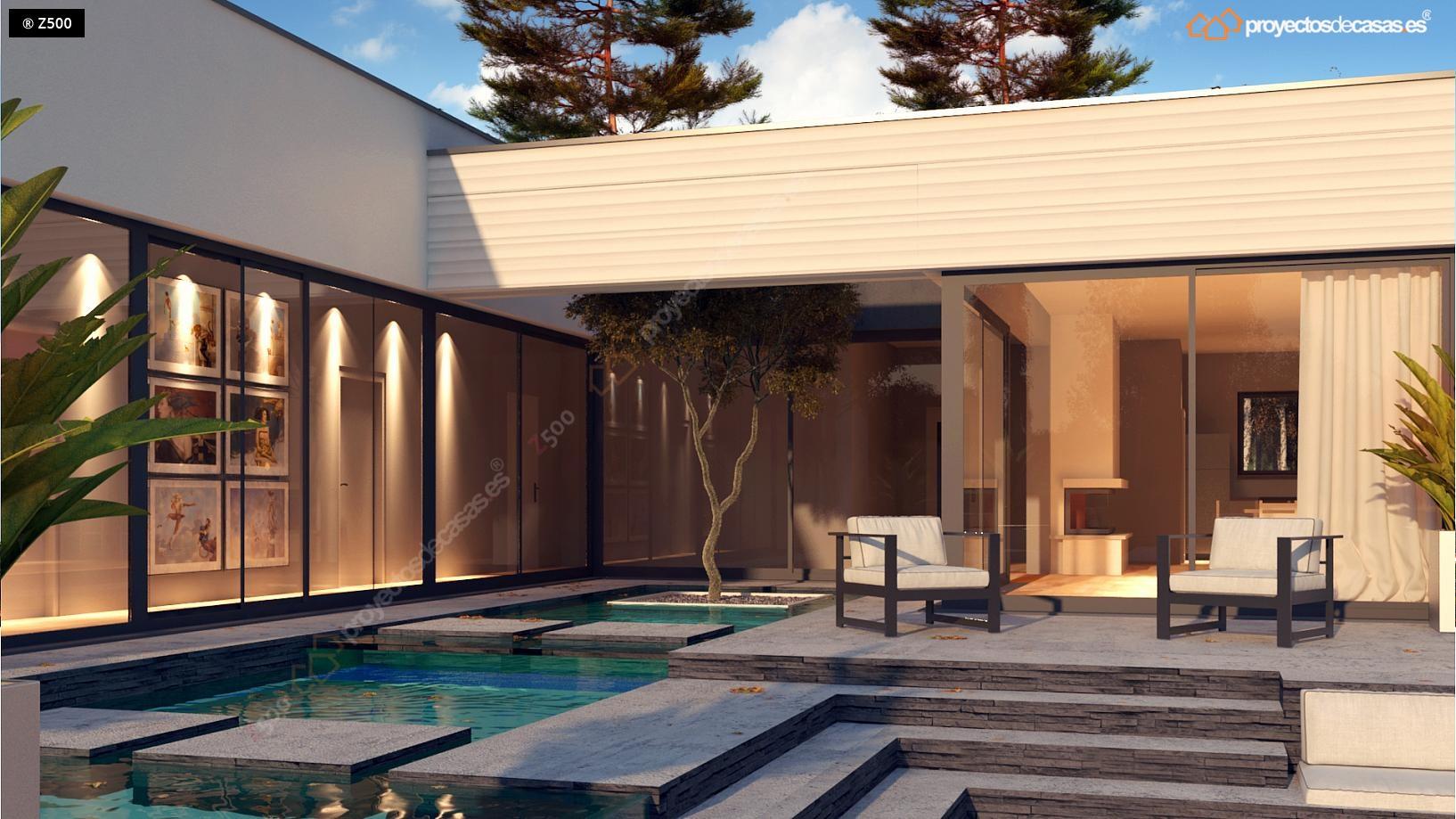 Proyectos de casas casa moderna de 1 planta con piscina for Casa moderna 3 habitaciones