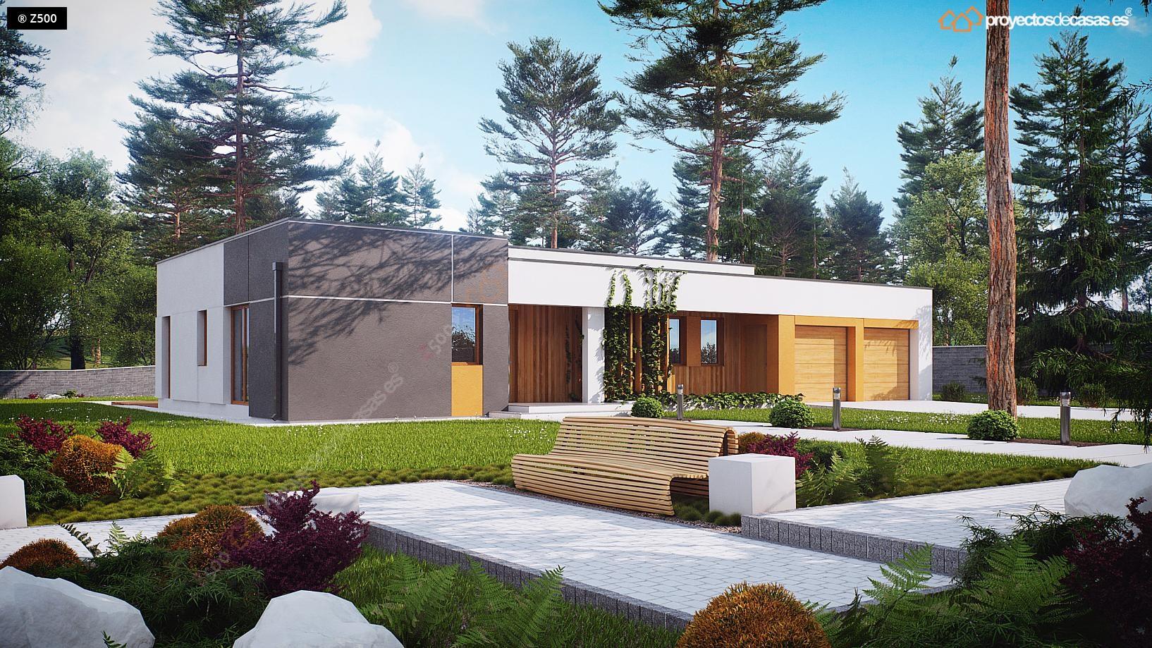 Proyectos de casas casa minimalista de 1 planta con for Casa moderna jardines