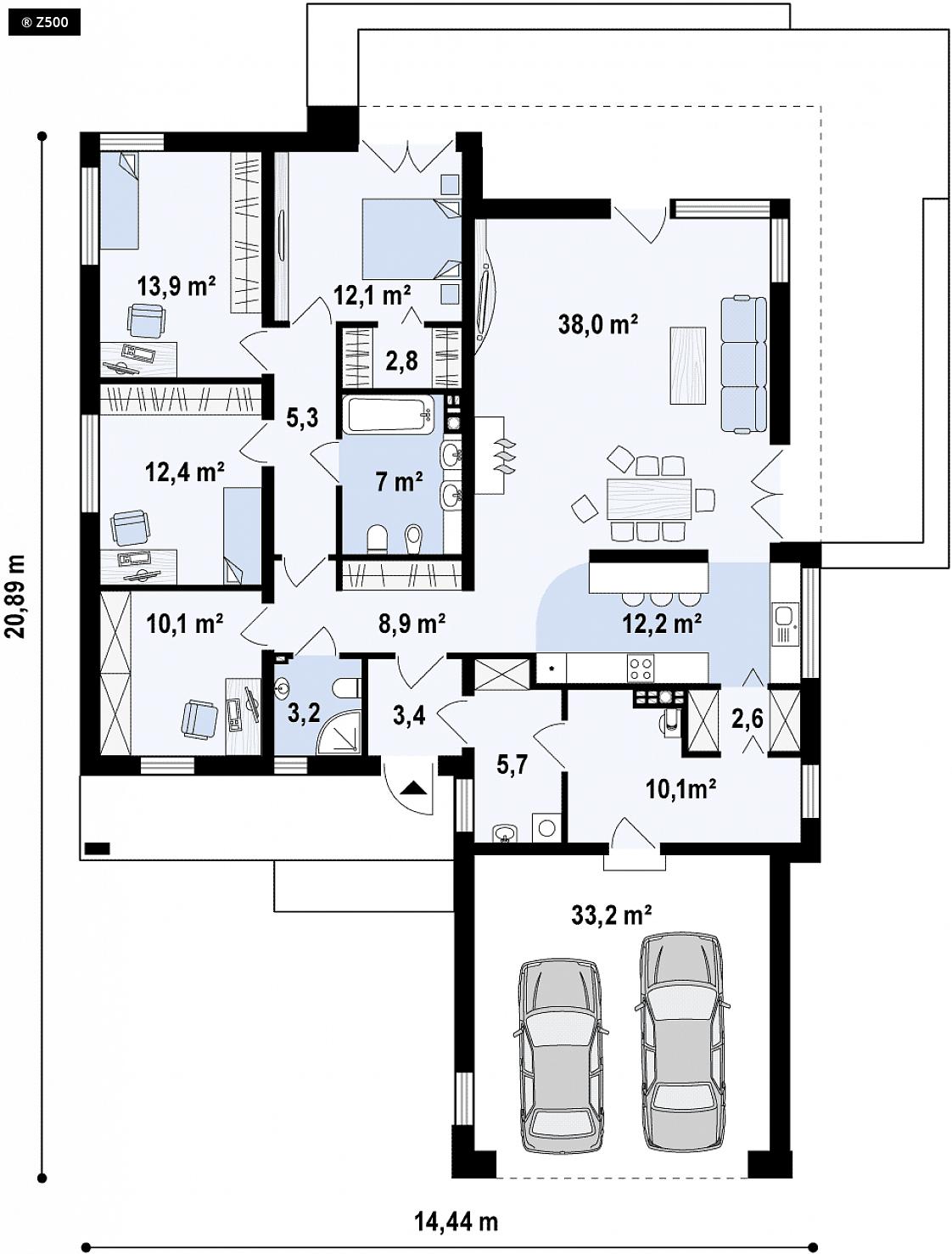 Proyectos de casas casa moderna de 1 planta con piscina - Planos casas de una planta ...