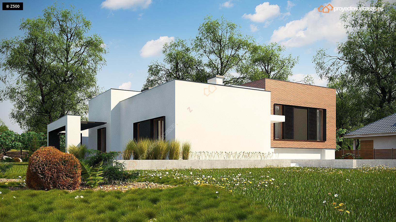 Proyectos de casas casa moderna aldaya con garaje for Casas modernas de una planta minimalistas