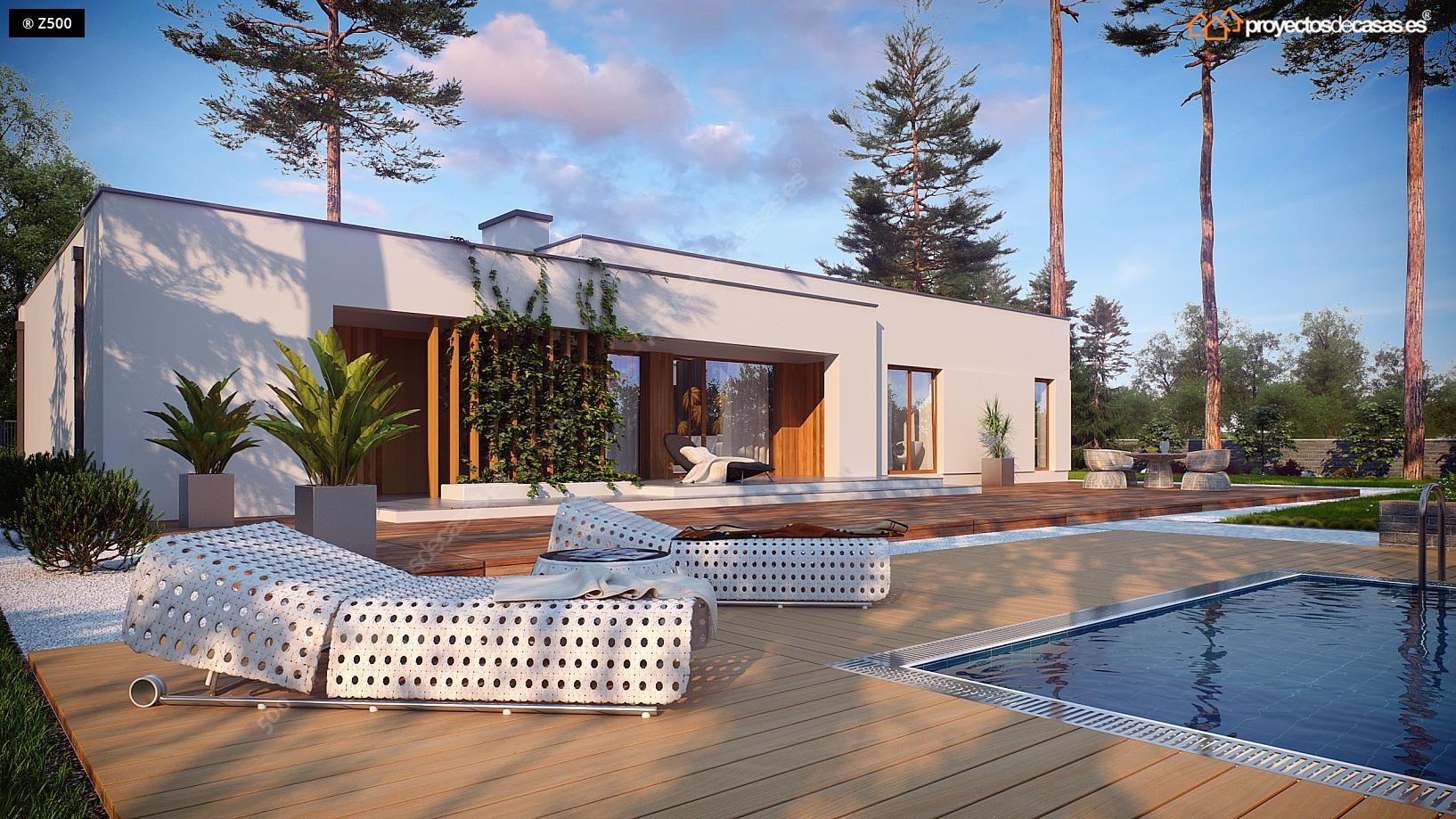 Proyectos de casas casa minimalista de 1 planta con for Planos de chalets modernos
