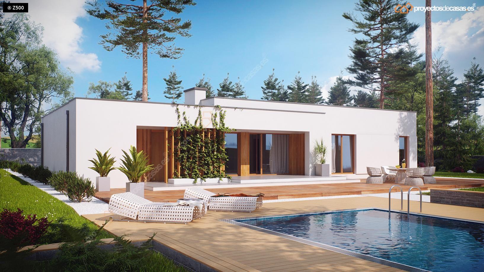 Proyectos de casas casa minimalista de 1 planta con for Plano casa minimalista 3 dormitorios