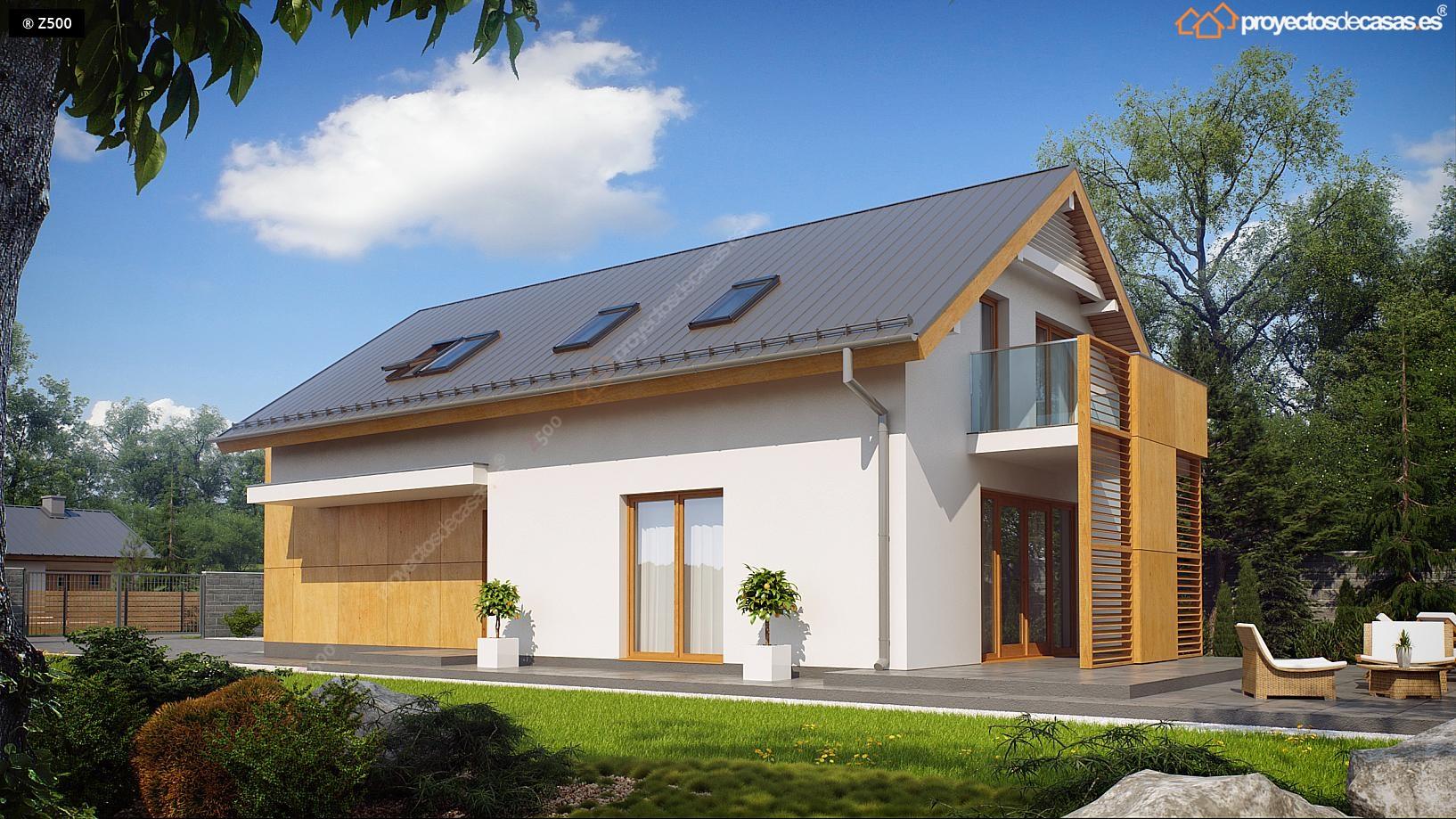 Proyectos de casas casa tradicional cubierta a dos aguas for Casa moderna a dos aguas