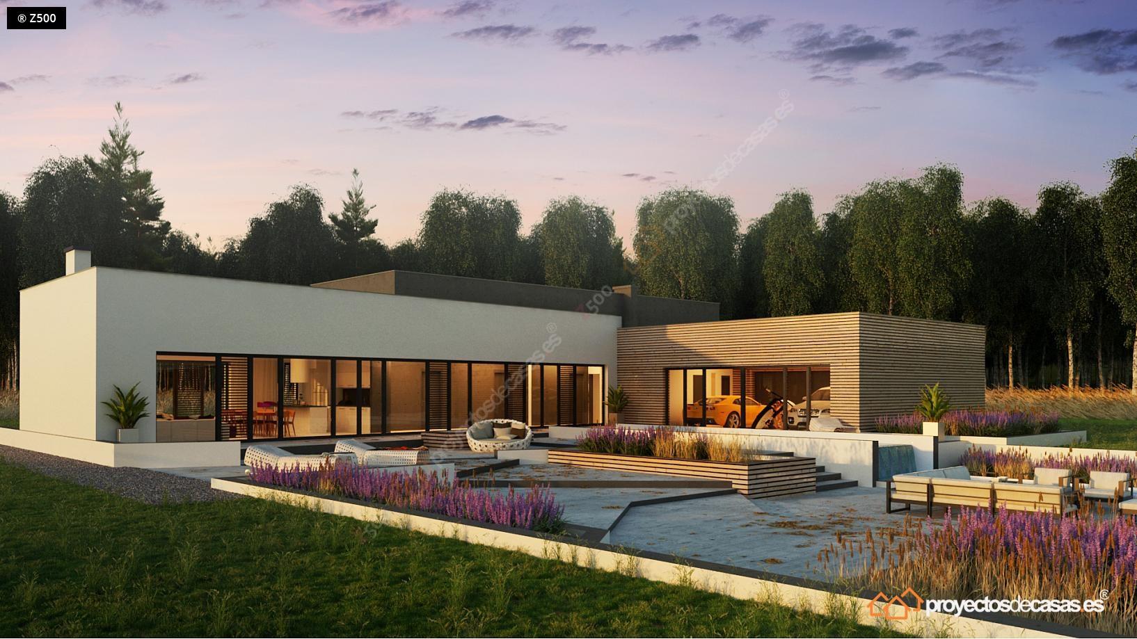 Casa moderna roca llisa con piscina y garaje a la vista - Fotos de casas en forma de l ...