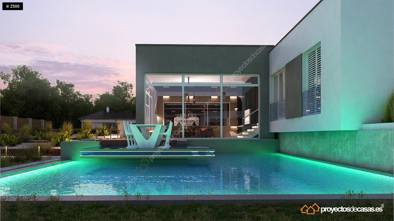 Proyectos de casas casa de lujo con piscina y garaje a for Casas de lujo en madrid