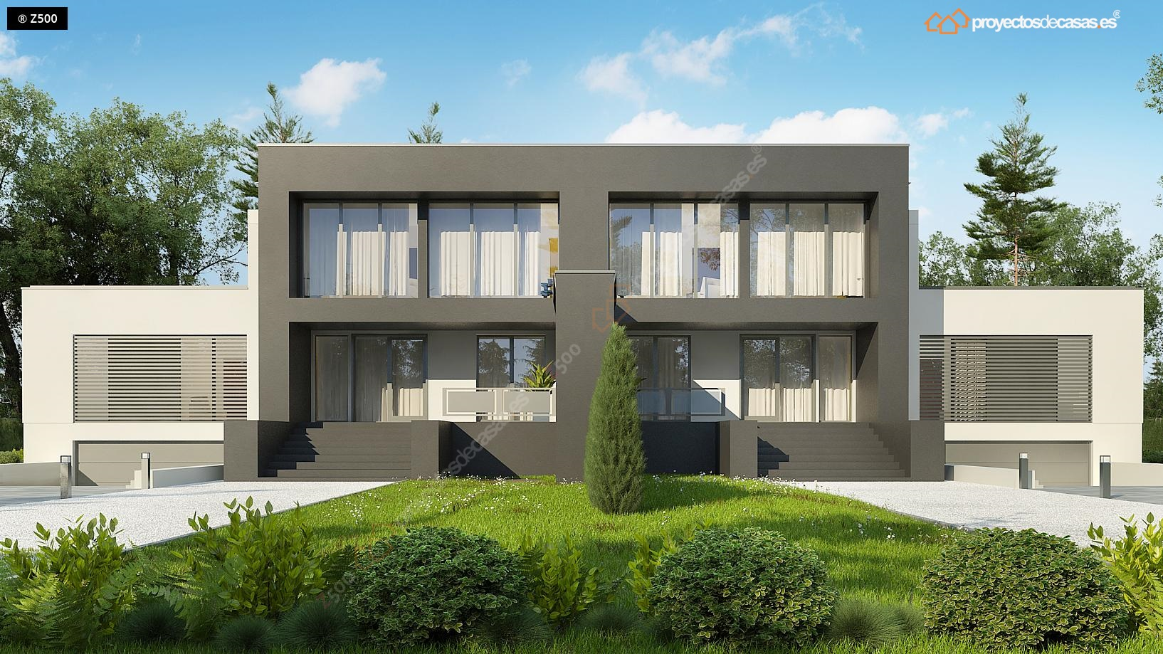 Proyectos de casas casa adosada moderna armunia for Casas modernas granada