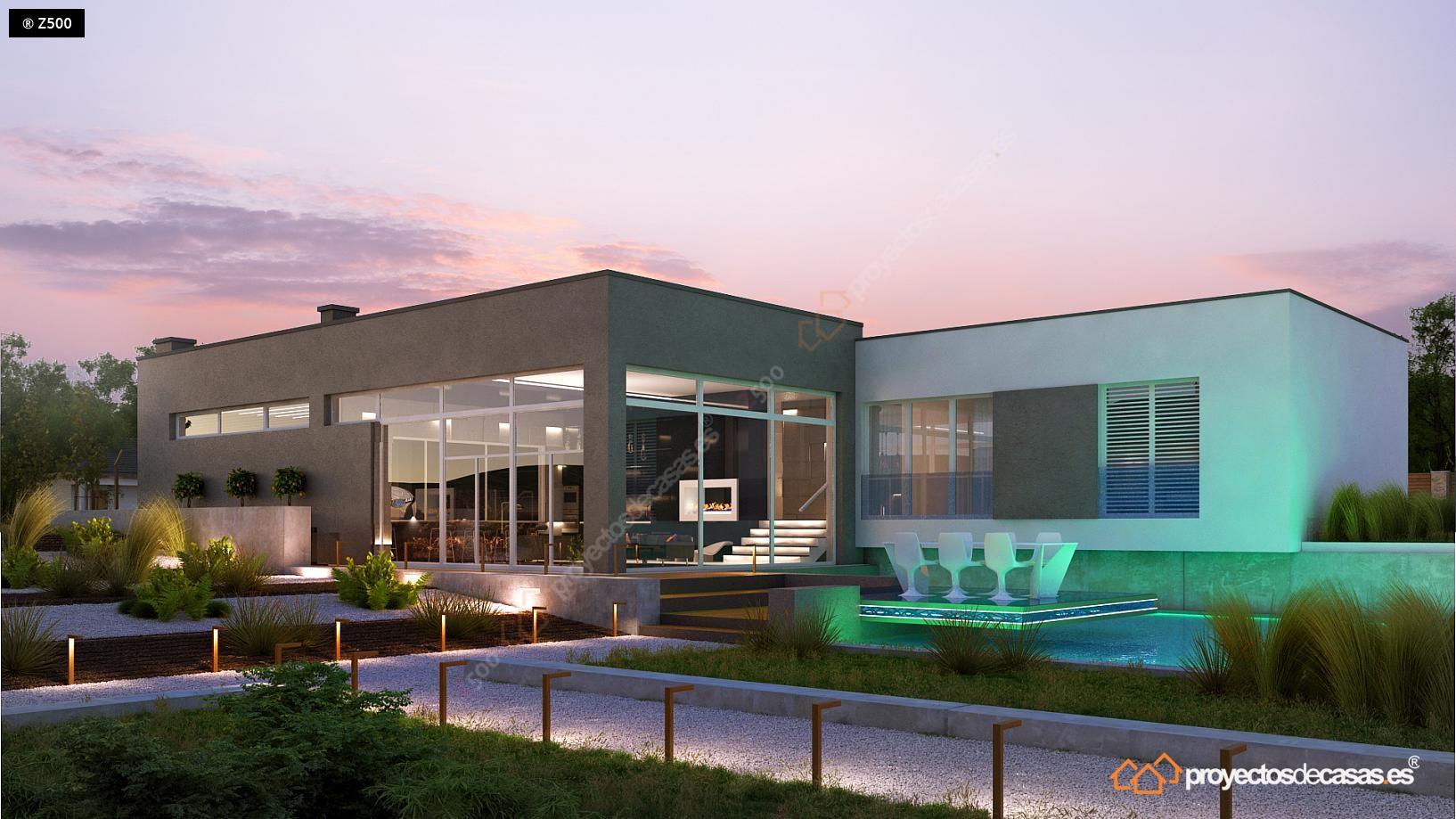 Proyectos de casas casa de lujo con piscina y garaje a for Casas modernas granada
