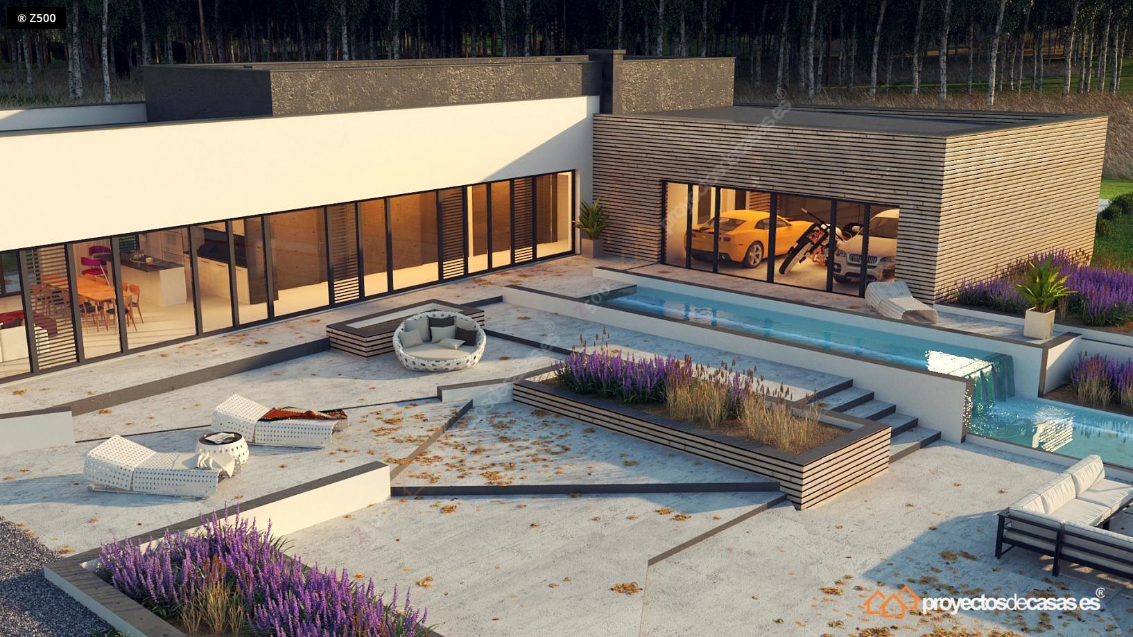 Casa moderna roca llisa con piscina y garaje a la vista for Casas con piscinas fotos