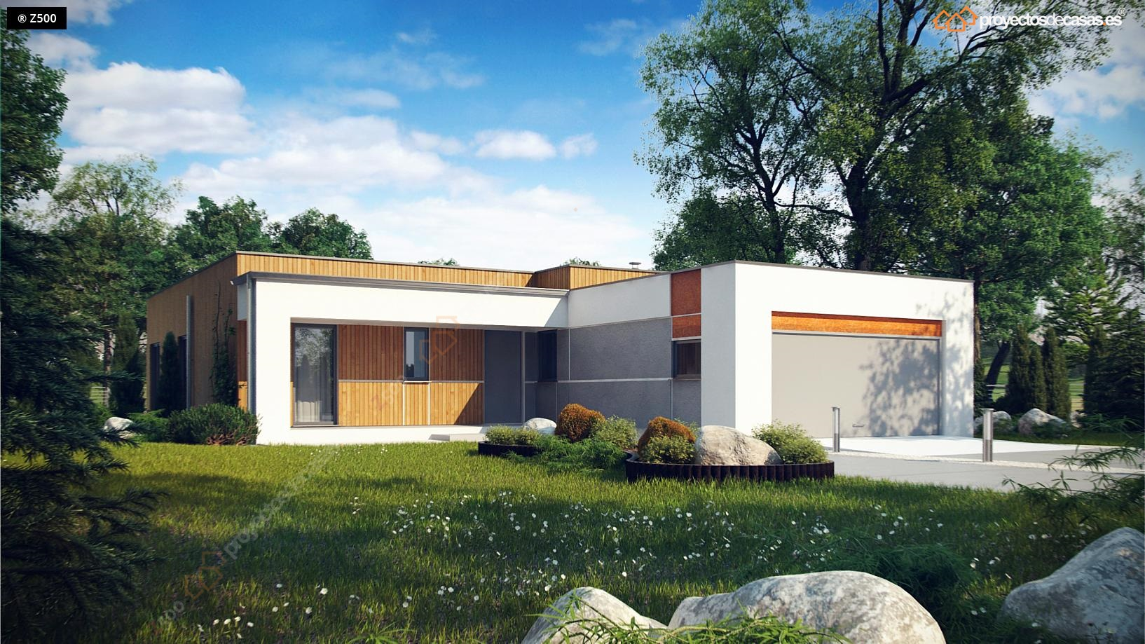 Proyectos de casas casa moderna de 1 planta con piscina for Distribucion de casas modernas de una planta