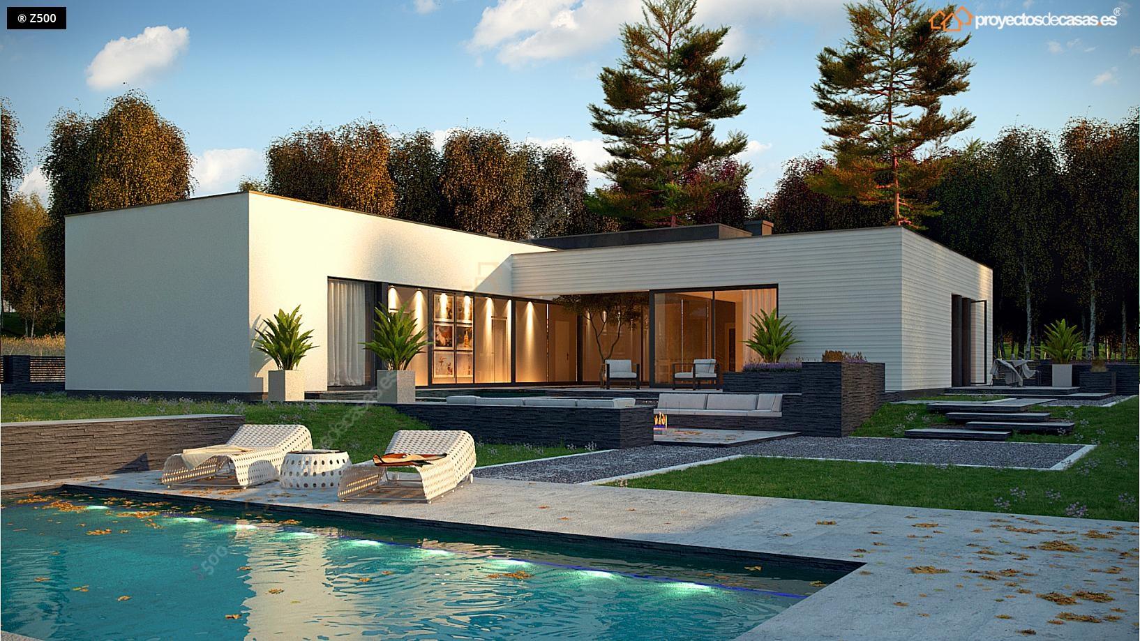 Proyectos de casas casa moderna de 1 planta con piscina for Planos de casas para construir de una planta