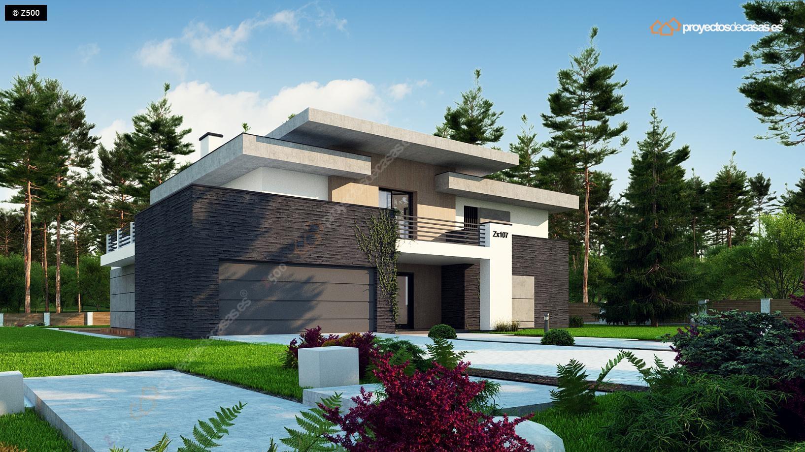 Proyectos de casas casa de dise o moderna con piscina for Casa moderna jardines