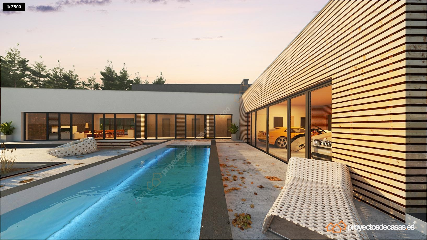 Casa moderna roca llisa con piscina y garaje a la vista for Casa moderna espana