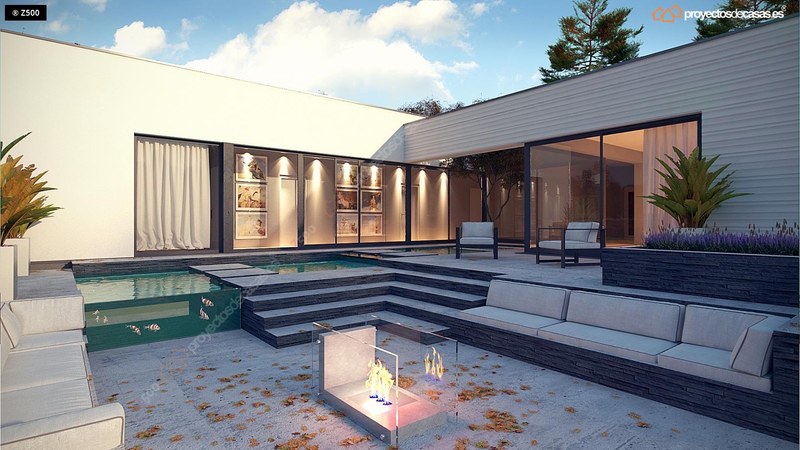 Proyectos de casas casa moderna de 1 planta con piscina - Fotos de casas en forma de l ...