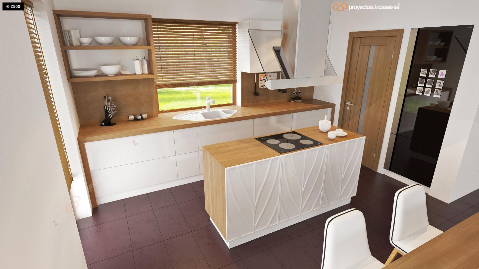 Proyectos de casas casa de dise o de 1 planta con for Proyecto cocina pequena