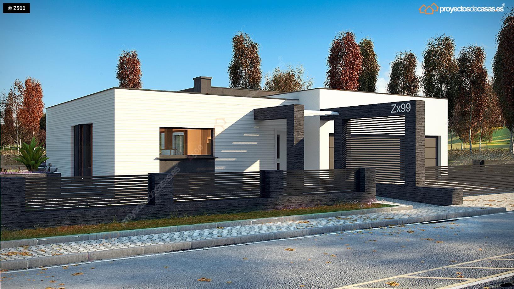 Proyectos de Casas | Casa Moderna de 1 planta con piscina ...