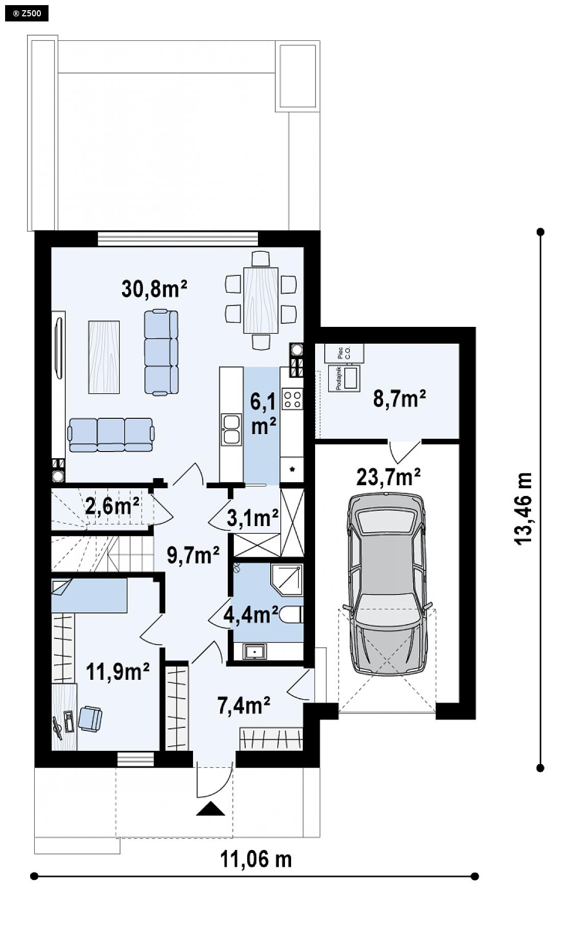Proyectos de casas carbajosa casa adosada moderna de for Planos de casas de dos dormitorios