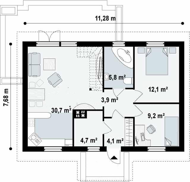 Proyectos de casas casa tradicional proyectosdecasas for Distribucion de apartamentos de 40 metros