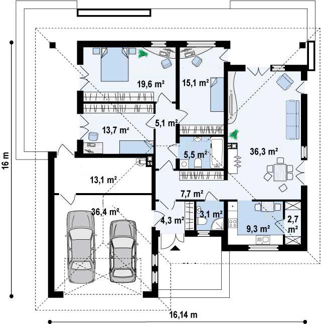 Proyectos de casas casa moderna proyectosdecasas for Planos chalets modernos